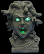Gothic Mythology Witch Animated Snakes MEDUSA HEAD BUST STATUE with Spooky Glowing Light Up Eyes, Mouth. Realistic Faux Verdigris Stone-look Halloween PROP Decoration. Creepy Light Sound Motion Activated Haunted House Horror Display Fantasy Figurine.