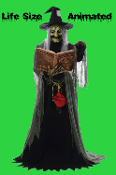 Gothic Life-Size Animated Light Sound Voice SPELL SPEAKING WITCH Haunted House Halloween Prop 5-feet 8-inches tall-Cackling Voice with Illuminating green LED Spell Book-One of the most frightfully spooky Haunt props! -See Youtube Video Demonstration!
