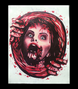 She's escaping her watery grave! Bloody Horror Movie Victim Hitchcock Creepy PSYCHO LADY SWIRLIE TOILET COVER Bates Motel Theme Costume Party Halloween Bathroom Decoration-SEAT LID STICKER GRABBER CLING-Washable repositionable reusable scene setter.