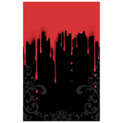 Gothic Haunted House Horror-Black and Red Border-FANGTASTIC BLOODY PLASTIC TABLE COVER CLOTH TOPPER DOOR WALL MURAL-Zombie Apocalypse CSI Dexter Psycho Butcher Shop Meat Market Vampire Bite Blood Drips Costume Party Kitchen Halloween Prop Decoration