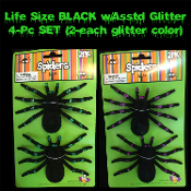 Realistic Arachnophobia Fuzzy Flocked Black Widow LIFE SIZE GLITTER TARANTULA SPIDERS Gothic Halloween Haunted House Cemetery Graveyard Props Decorations Witch Costume Accessory Prank Joke Gag Gift-4 pc SET