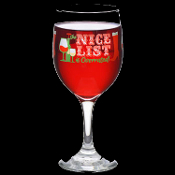Naughty--The NICE LIST is OVERRATED--Wine Glass Drink Goblet Christmas Party Holiday Decoration -10oz. Dinner Cocktail Party Favor Tableware Traditional Stemware with Funny yet Elegant Design. Kitchen, Dining, Restaurant, Bar Decor --Made in the USA!