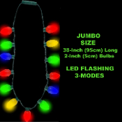 Glow Multicolor Christmas JUMBO FLASHING LED NECKLACE Mardi Gras Parade Large Retro Style Holiday String Lights Huge Blinking Bulbs - Ugly Sweater Novelty Costume Jewelry Accessory Bar Crawl Raves New Year Party Favor Decoration- 4-color 2-inch bulbs