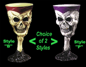 Medieval Steampunk Cosplay Skeleton SCARY SKULL GOTHIC GOBLET Vampire Chalice Party Cup Witch Drink Glass - Stone-look Stemmed Halloween Prop Costume Accessory Decoration - Holds 9 ounces of your favorite Potion! Choice of IVORY/BROWN or GRAY/PURPLE