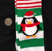 GREEN-Holiday Novelty-SANTA ELF PENGUIN STRIPE KNEE HIGH SOCKS-Christmas Stockings Rockabilly Lolita Clothing Accessory-sz 9-11. Cute Punk Fun Costume Team sports, soccer, volleyball, cheerleading, cheer accessories - Teen Unisex Women