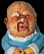 Creepy Realistic Latex Zombie Mutant Monster BABY STINKY DOLL HAND PUPPET Life Size Newborn Ugly Infant Gross Scary Costume Accessory Haunted House Horror Prop Gag-Oozing snot mutated skin deformities on its hideous face. Complete w- Flannel Blankie!