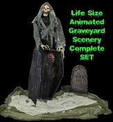 Halloween haunted house TALKING GRAVEYARD REAPER ZOMBIE PROP horror decor cemetery graveyard scenery set has it all! The Graveyard Reaper decor set comes with a Life Size character with moving mouth and light-up eyes, partial coffin and tombstone.