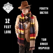 Amazing Full 12-Foot Long Doctor Who-Tom Baker Scarf is what you've been waiting for! This isn't an ordinary multicolored scarf. In the hands of the capable Doctor, it's a lasso, measuring tape and almost always saves the world from impending doom.