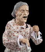 Creepy classic life-size Psycho Bates Motel inspired Mother is not your normal sweet Granny! Scary deluxe static prop features posable arms, dress and realistic head with full gray wig. Her hands hold both a room key and threatening knife!