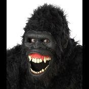 Ani-Motion Deluxe APE Gorilla King Kong Mask Halloween Cosplay Costume Accessory. Full over head latex with built in armature. Chin mounts allow mouth to open, the lips roll back to reveal a large teeth and gums. You have to see it to believe it!
