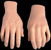Life Size Realistic Fake Adult Hands SET Stage Prop Gag Trick Body Parts. Need an extra hand? Now you can have two! Fun phony pair of Hands for Halloween horror prop building decorations. Life-like Cut-off hands for practical jokes or haunted house.