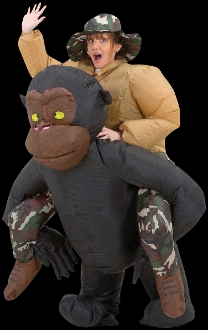 Hilarious Airblown Inflatable Costume Funny Riding Gorilla. Includes self-inflating fan with battery pack to keep the unisex costume inflated for hours. Separate hat also included. Uses 4-AA Batteries, NOT included. Fits most adults 5 to 6-feet tall.