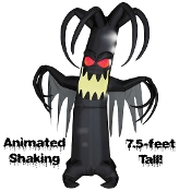 Scary Life-Size Airblown Inflatable Animated Haunted Tree Light-up Halloween Yard Prop decoration. Spooky gothic haunted house decor. Self-inflates in just seconds. Eerie haunted forest creature lights up, shakes and shivers as if it were alive!