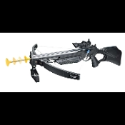 Realistic Life Size Crossbow with Stock Faux Toy Weapon with sight, trigger grip and front end handle attached. Suction tip arrows included. Super cool plastic prop fake bow accessory accents any zombie, vampire or werewolf hunter cosplay costume.