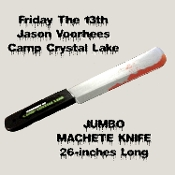 Huge JUMBO Fake Machete Knife classic toy horror prop weapon with realistic blood splatter. Frighten friends with this Licensed Friday the 13th Jason Voorhees Camp Crystal Lake Halloween cosplay costume accessory. 26-inch long, blow molded plastic.