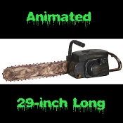 LIFE SIZE Texas Chainsaw Massacre Deluxe Fake ANIMATED CHAINSAW Halloween Haunted House Horror Prop Zombie Hunter Monster Slayer Serial Killer Scary Cosplay Costume Accessory- Aged Black Fake Chainsaw Rusty-looking Old Faux Blade with Realistic Sound