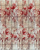 Creepy Bloody Tile Wall Haunted House Scene Setter. Halloween costume or horror movie theme party decoration. Scary backdrop scenery for morgue, mad scientist laboratory or serial killer scenario. Plastic sheet roll 20-feet x 4-feet.