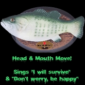 Funny Big Mouth Billy Bass Classic Novelty Gag Decoration - Wooden look plaque with your prize catch mounted for posterity. But wait! He sings 'Don't worry be happy' and 'I will survive'! Billy will keep your guests in stitches!