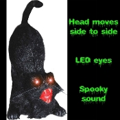 Who says black cats are bad luck? This animated black cat makes a spooky home decoration for any Halloween costume party. Feline comes to life with terrifying sounds and side to side head movement, eyes light up and scary cat and storm sounds play.