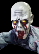 Amazing creepy crawling Zombie ground breaker animated prop decoration actually crawls along toward you! Eerie red light-up eyes for a great spooky effect! Compact Size fits easily into nearly any nook or cranny of any Halloween haunted house scene.