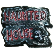 Gothic Horror-HAUNTED HOUSE-Halloween Prop Decoration cemetery, graveyard, door, yard warning SIGN for Teenager Room, Teen Bedroom, Man Cave, Castle Haunt Decor. Creepy detailed spooky dungeon, tombstone scene or costume party wall display.