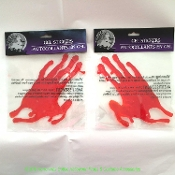 Realistic LIFE SIZE BLOODY HAND PRINTS SPLATTER GEL DECAL CLINGS Window Door Mirror Sticker SET-Halloween Haunted House Morgue Horror Decorations-Walking Dead Zombie CSI Dexter Psycho autopsy murder victim scene blood drips. Creepy medium adult size.