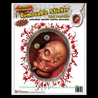 Creepy Gothic Horror Bloody Bathroom Toilet-SEVERED ZOMBIE HEAD FLOATING EYEBALLS-Spooky Halloween Haunted House Prop Scary Party Decoration Bathroom Mirror STATIC WINDOW CLING Glass Door Refrigerator Dishwasher Sticker Car Decal-Sticky Grabber