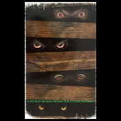 Creepy Gothic Horror Bloody-STALKING PEEPER EYES PEERING THROUGH WOOD PLANKS-Spooky Halloween Haunted House Prop Scary Party Decoration Bathroom Mirror Tattoo STATIC WINDOW CLING Glass Door Refrigerator Dishwasher Sticker Car Decal-Sticky Grabber
