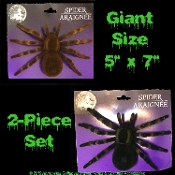 Realistic Arachnophobia Fuzzy Flocked Black Widow GIANT TARANTULA SPIDERS Gothic Halloween Haunted House Cemetery Graveyard Props Building Decorations Witch Costume Accessory Prank Joke Gag Gift-Two piece SET