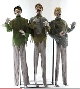 Creepy Animated Life Size Walking Dead inspired ZOMBIE HORDE Spooky Moaning Groaning Scary Halloween Haunted House Cemetery Graveyard Horror PROP TRIO SET-Eerie Glow LED Light Eyes-Rotating Heads-Body Swaying Motion-Posable Arms-STEP-HERE PAD-VIDEO