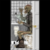 Funny Toilet Loo ZOMBIE on the POTTY BATHROOM DOOR COVER Shower Mural Restroom Wall Poster Scene Setter Halloween Decoration. Haunted House Backdrop, Castle Scenery, Horror Prop Accessory. Hilarious Zombie sitting on the commode perusing his tablet!