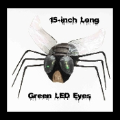 Big Realistic Creepy Jumbo Size GIANT TEXAS HOUSE FLY with Spooky Green LED Lighted Eyes Scary Bug Gothic Halloween Haunted House Cemetery Graveyard Mad Scientist Laboratory Horror Movie Display Prop Building Joke Gag-Cheap Halloween Prop Decoration