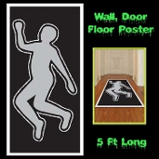 Creepy CSI Style DEAD BODY SILHOUETTE Floor Wall Door Cover Mural Poster Horror Police Detective Murder Investigation Serial Killer Scene Setter Costume Party Trim Haunted House Halloween Decoration Morgue Autopsy Photo Booth Backdrop Prop Building