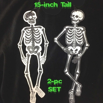 Gothic Painted Black White Glitter WOOD CUTOUT SKELETON PLAQUES Sparkly Shapes Wall Door Signs-PAIR Negative and Positive-Spooky Halloween Haunted House Decorative Wall Hanging Sign Crafts Decoration Horror Prop Building Scene Setter-TWO Piece SET