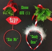 Funny Novelty HOLLY MISTLETOE HEADBAND Ugly Christmas Sweater Party-ONE-Santa Helper Elves Colorful Elf Classic Theme Costume Headpiece Festive Holiday Decoration. UNISEX ADULT TEEN SIZE. Choose Style: RED WHITE - KISS ME or CANDY CANE Marabou Trim.