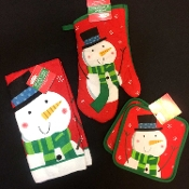 Holiday Theme Frosty SNOWMAN DISH CLOTH HAND TEA TOWEL POT HOLDERS OVEN MITT Kitchen Dining Bar Party Display Cooking Baking Decor -Christmas Winter Red Green Printed Design Functional Decorations makes a great Ho-Ho hostess gift! Four (4) piece SET