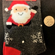 Christmas Novelty-CUTE FUZZY BEARD SANTA CLAUS CREW SOCKS-Holiday Stockings Stuffer. UNISEX (Women's Size 9-11) Holiday Clothing Accessory Gift. Gray, Red, White and Black stockings fit women's shoe sizes 4-10.