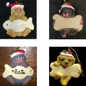 New DOG with BONE or CAT with FISH-CHRISTMAS ORNAMENT-Home Decoration House Pet Gift Animal Lover Home Wall Door Decoration-CHOOSE NOT Decorated or PERSONALIZED FREE with Name provided-Heavyweight Resin-Holiday Puppy Kitten Best Friend Secret Santa