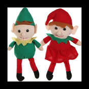 2-Pc SET-TWINS-BOY GIRL-Santa Helpers Scouts Pixies ELF SHELF SITTER DOLLS Christmas Plush Toys. How does Santa know who is NAUGHTY or NICE? Have fun creating a new family holiday game tradition with our cute cuddly, red and green soft stuffed Elves!