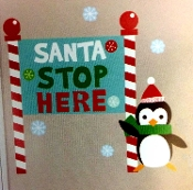 Cute Colorful SANTA STOP HERE Penguin Wall Art Removable Stick-On Decal Sticker Christmas Window Door Refrigerator Dishwasher Appliance Holiday Party Theme Decoration-27.5-inch x 9.75 inch (70 x 24.8cm)