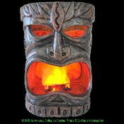 Fake FLAMING TIKI HEAD LAMP Luau Pirate Theme Faux Flame Lantern Party Decoration-Tropical Island Decor. PLASTIC portable dimensional Totem, stone-look carved features. Battery operated fan blows fabric mouth flames color lights create fire illusion