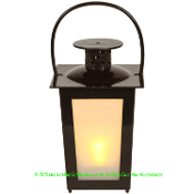 Small Plastic BLACK WHITE FROSTED Flicker LED Classic COACH Style LANTERN Halloween Pirate Theme Prop Mini Patio Table Top Lamp Night Light Haunted House Cemetery Graveyard Birthday Party Favor Yard Garden Decoration-Carry Handle-BATTERY INCLUDED!