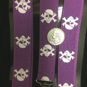 Funky 1-inch wide stretch elastic Y-SHAPE back ADJUSTABLE UNISEX NOVELTY PRINT SUSPENDERS with metal clips. Adult One Size costume daily wear accessory. Formal, casual, stage, holiday, Halloween party, cosplay accessories-Purple w-White PIRATE SKULL