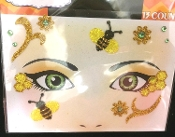 Glitter Bug Insect Yellow Gold HONEY BEE-Stick on Eye Wear Glitter Sequin Tattoo Decal with Classic Detail. Eye Shadow Face Art Sticker. Temporary Tattoos Transfer with Faux Rhinestone Gems Makeup Special Effects Cosmetic Accessory. Easy removal.