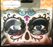 DAY of the DEAD SUGAR SKULL-Stick on Eye Wear Glitter Sequin Tattoo Decal with Classic Detail. Eye Shadow Face Art Sticker. Temporary Tattoos Transfer with Faux Rhinestone Gems Makeup Special Effects Cosmetic Accessory, as pictured. Easy removal.
