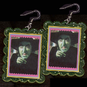 Wizard of Oz - The WICKED WITCH-of-the-WEST EARRINGS - HUGE Funky Ruby Slippers Villain Novelty Character Costume Jewelry
