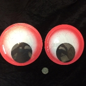 6-inch (15cm) Big Funny Wiggle Ghost ROUND GIANT GOOGLY EYES Huge Jumbo Size Novelty CREEPY BLOODSHOT BLOODY RED Halloween Prop Crafts Party Gag Decoration-Self Stick Back. Decorate Tree Car Door Appliance. Create Monsters Clowns Creatures-DARICE 2pc