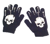 Knit Winter Magic Stretch BLACK WHITE SKULL GLOVES Novelty Gothic Punk Pirate Biker Skater Medical Student Doctor Nurse Paramedic Rockabilly Steampunk Diva Lolita Witch Wizard Cosplay Halloween Novelty Costume Accessory-Unisex Kids Teen Size