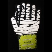 GLOW in the Dark Winter Magic Stretch Knit MUMMY BANDAGED HANDS GLOVES Novelty Punk Gothic Accident Victim Medical Student Doctor Nurse Paramedic Steampunk Cosplay Halloween Costume Accessory