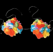 Hawaiian Silk LUAU LEI FLOWER BRA BIKINI TOP Beach Party Costume Accessory. New Bright Multi-Color Tropical-style, Tahitian-theme, Fancy Dress, Dress-up, Pirate Decor, Adult Size Womans, Floral Decorated, Island Hula-Girl Bikini Bra Costume Accessory